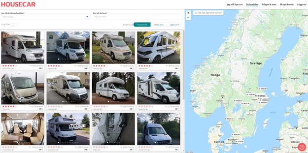 På Housecars hemsida är det enkelt att både hyra och hyra ut.