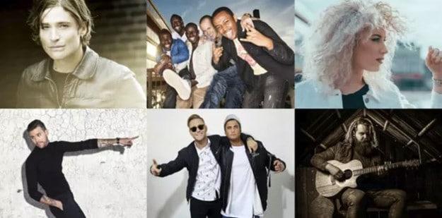 Artisterna som är klara för Scensommar 2018: Andreas Johnson, Panetoz, Wiktoria, Robin Bengtsson, Samir & Viktor och Chris Kläfford.